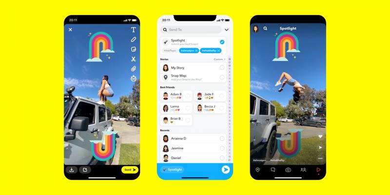 Snapchat'in TikTok ile rekabet için getirdiği Spotlight özelliğinin farklı menülerini gösteren üç telefon ekranı. İlk ekran video yükleme ve düzenleme kısmını, ikinci ekran paylaşma menüsünü, son ekran ise izleme anını gösteriyor.