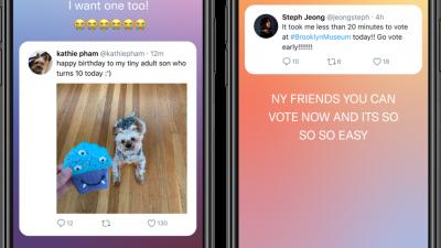 Twitter'ın fleet özelliğini gösteren iki telefon. İki ekranda da tweetlerin ekran görüntüsü ve üstlerinde paylaşım yapan kişinin yorumları normal metin şeklinde yer alıyor.