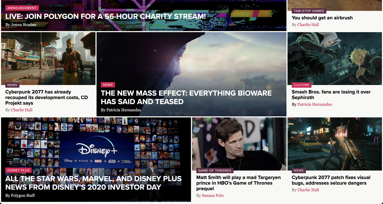 En büyük oyun haber sitelerinden birisi olan Polygon'un ana sayfasında öne çıkarılan haberlerin göründüğü bir ekran görüntüsü.