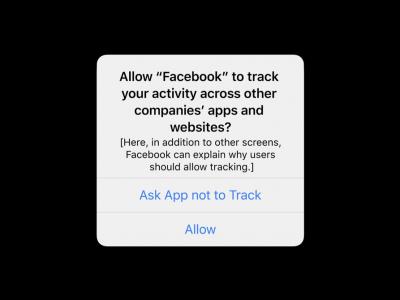 Apple'ın iOS işletim sisteminde gelecek yeni mahremiyet uyarısının örneği. Facebook üzerinden verilen örnek uygulamanın sizi diğer uygulama ve sitelerde takip etmek istediğini söylüyor.