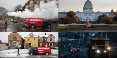 """The Correspondent yayın hayatına başlamadan önce üzerinde """"unbreaking news"""" sloganı olan bir haber aracını ABD'nin farklı yerlerinde fotoğrafladığı bir reklam kampanyası gerçekleştirdi."""