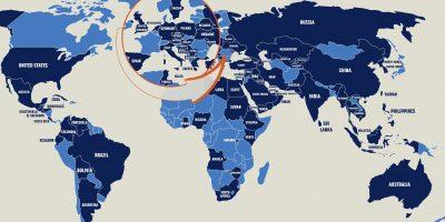 Dünyada propaganda amacıyla ekipler kuran veya buna yatırım yapan devletleri gösteren bir dünya haritası.