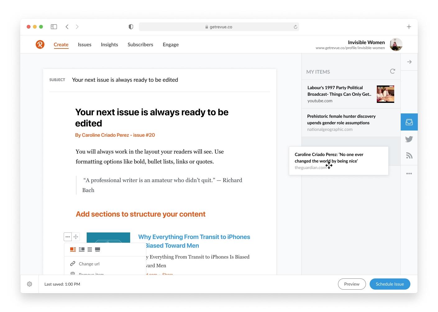 Revue isimli e-bülten platformunun yazı yazma ve yayınlama editörünü gösteren bir ekran görüntüsü.