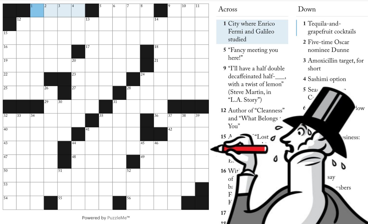 New Yorker'ın sitesindeki bulmacalardan birisinin ekran görüntüsü.