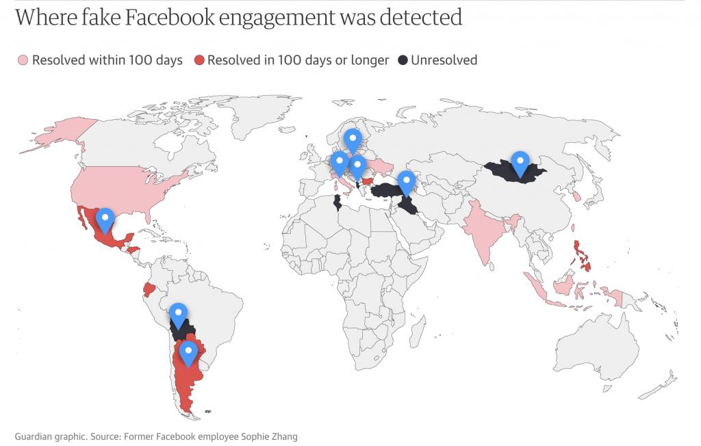 Facebook'un sahte etkileşim tespit ettiği ülkeler ve durumlarını gösteren harita. Çoğu ülkede sorun çok geç çözülmüş ya da çözülmemiş.