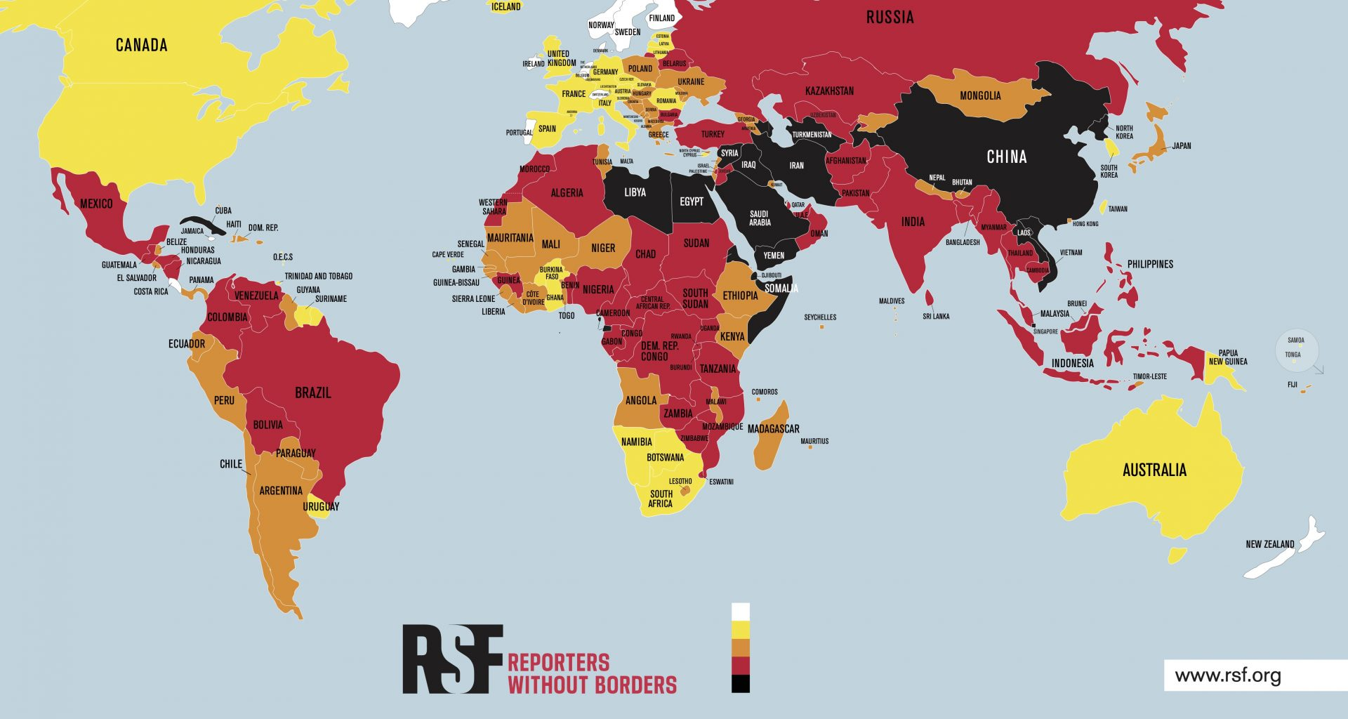 RSF'nin 2021 dünya basın özgürlüğü haritası.