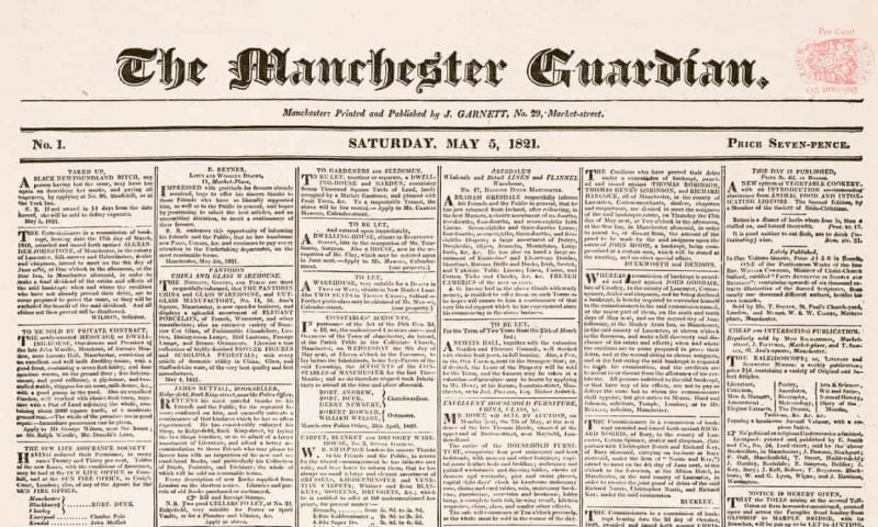 Guardian'ın ilk sayısının ilk sayfası.