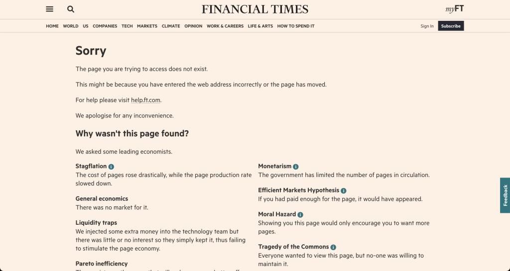 Financial Times'ın ekonomi esprileri ile dolu 404 hata sayfası. Sayfayı hemen alttaki linkten ziyaret edebilirsiniz.