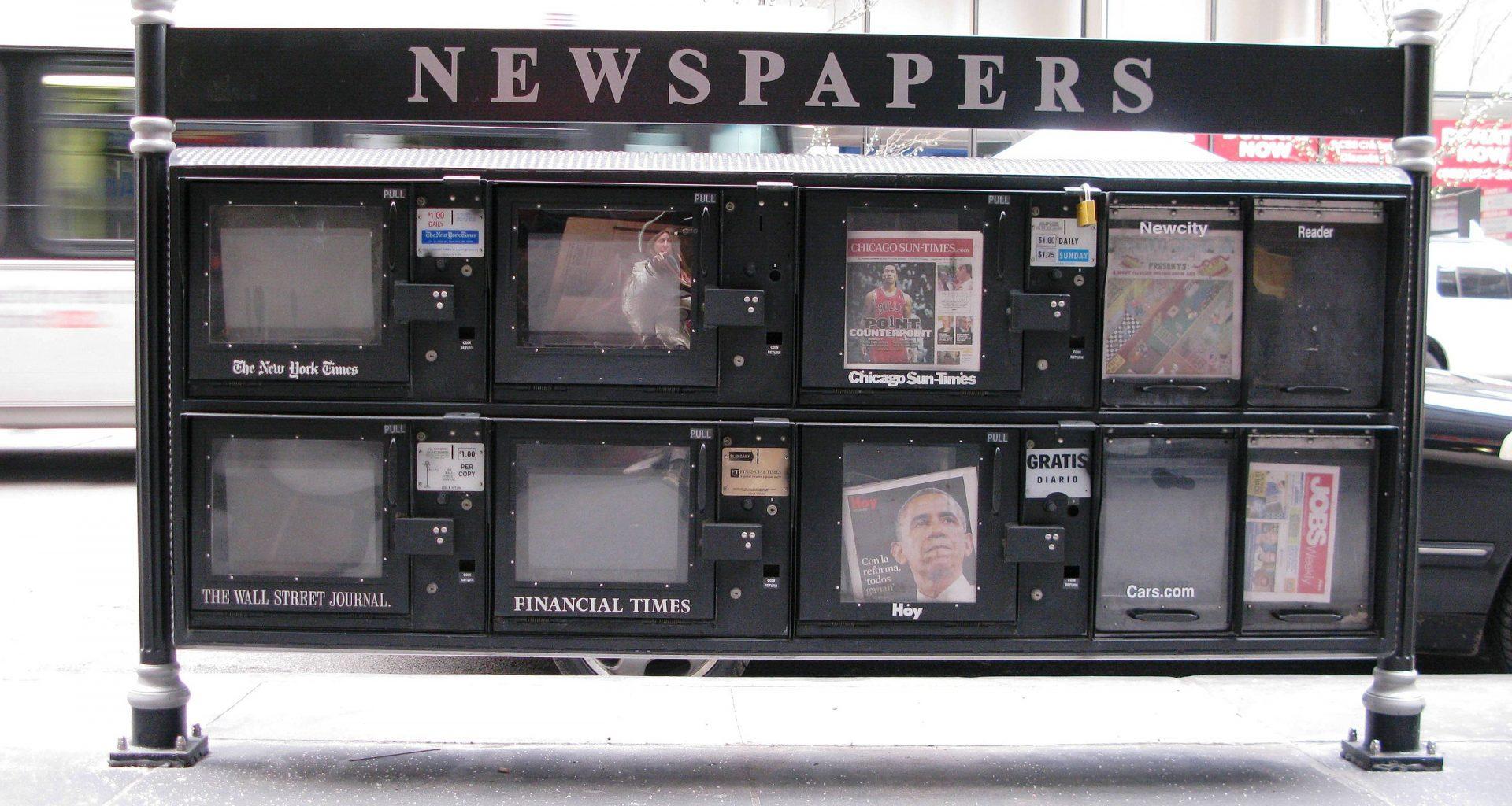 ABD'deki eski gazete otomatlarından bir tanesi.