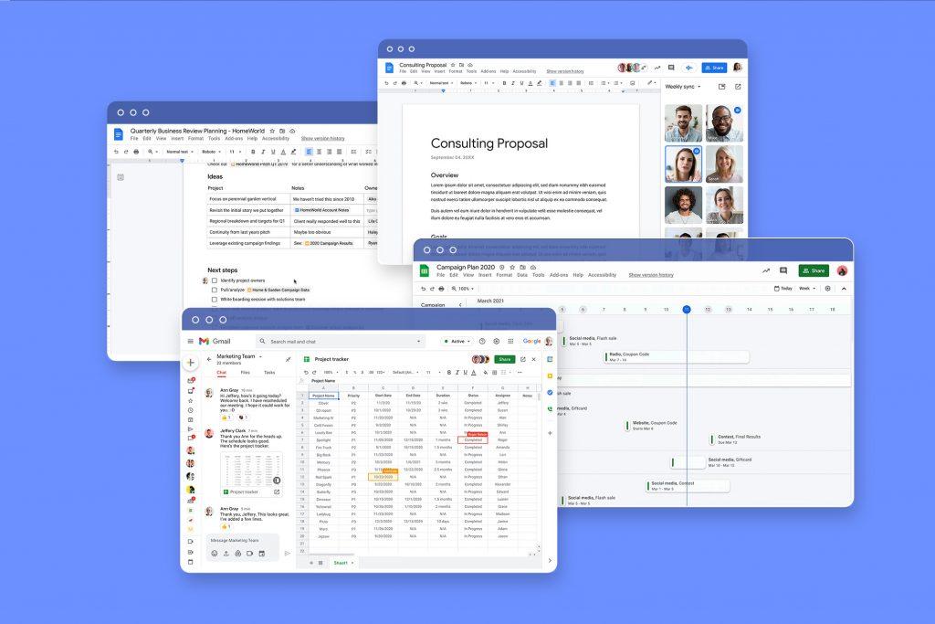 Google Workspace'in yeni özelliklerinin ekran görüntüsü.
