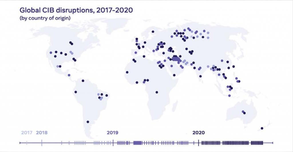 2017 ve 2020 yılları arasında Facebook'ta gerçekleştirilen etki operasyonlarının haritası.