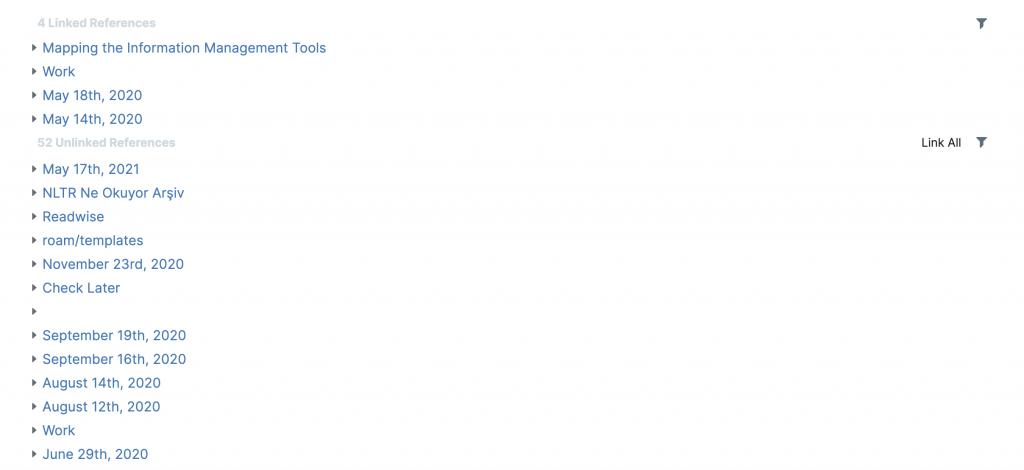 Roam Research içerisinde referansların çalışma şeklini gösteren bir ekran görüntüsü.