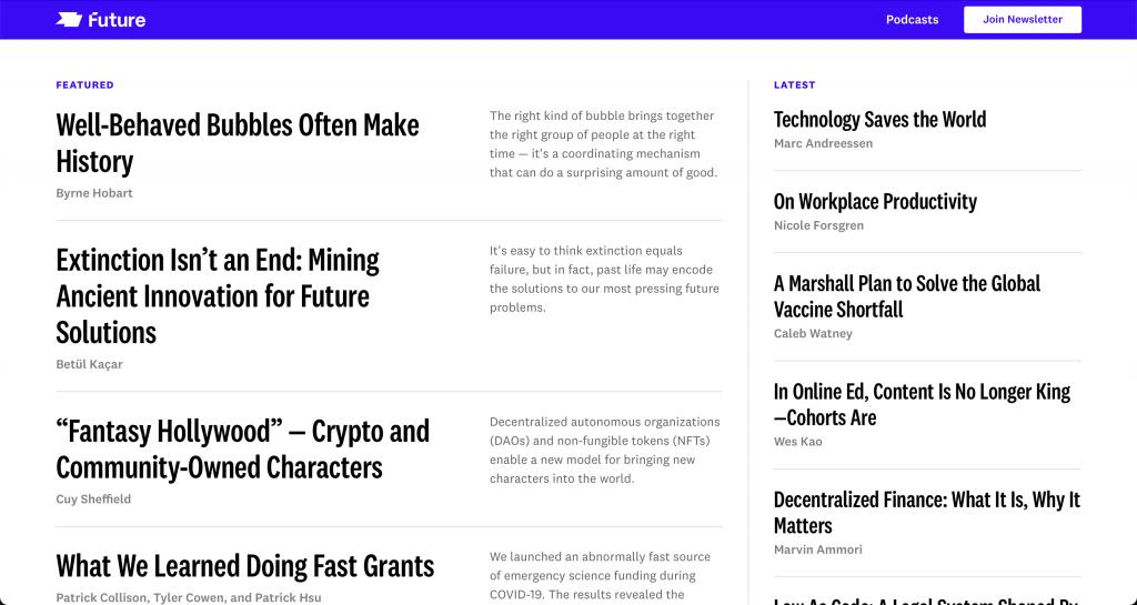 Future isimli yeni yayının ana sayfası.