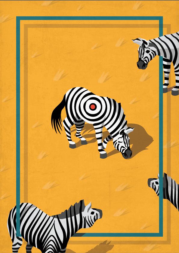 Birden çok zebranın olduğu bir animasyon, zebralardan bir tanesinin çizgileri hedef tahtası şeklinde.