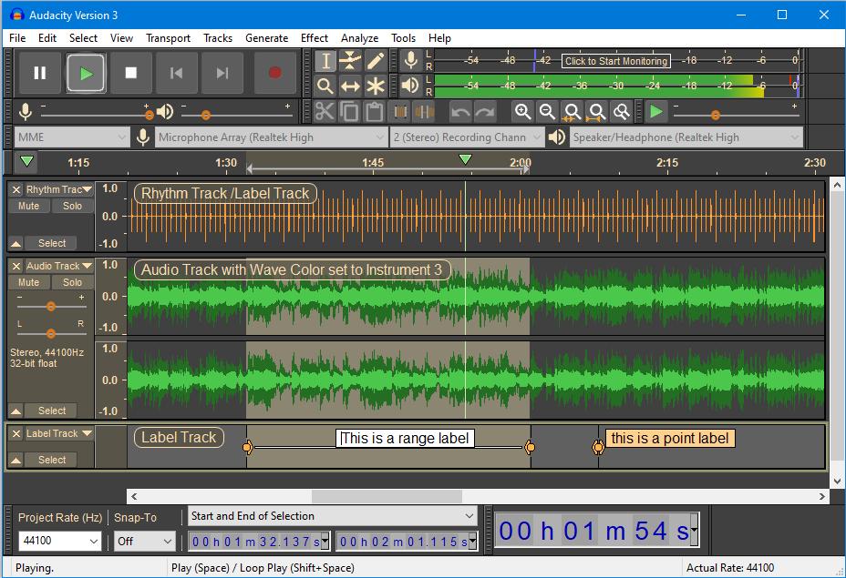 Audacity'den bir ekran görüntüsü.