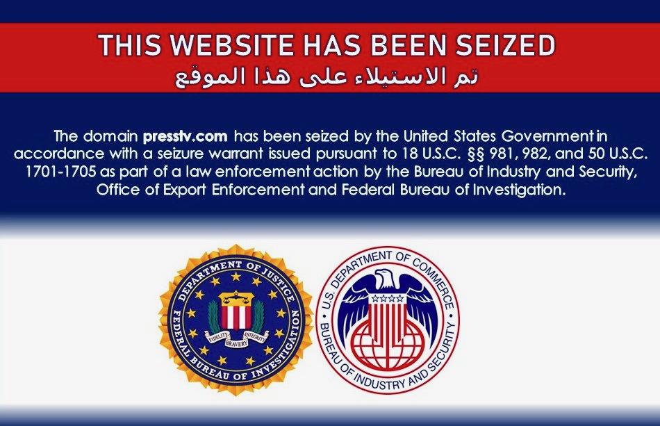 presstv.com adresine el konulduktan sonra ABD Adalet Bakanlığı tarafından siteye konulan uyarı ekranı.