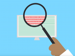 Bilgisayar ekranına büyüteç tutan bir animasyon, lensin içerisinde farklı güvenlik tehditlerinin isimleri yazıyor.