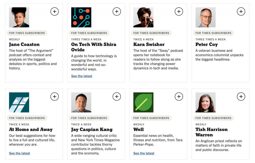 New York Times'ın abonelere özel bültenlerinin listesinden bir ekran görüntüsü.