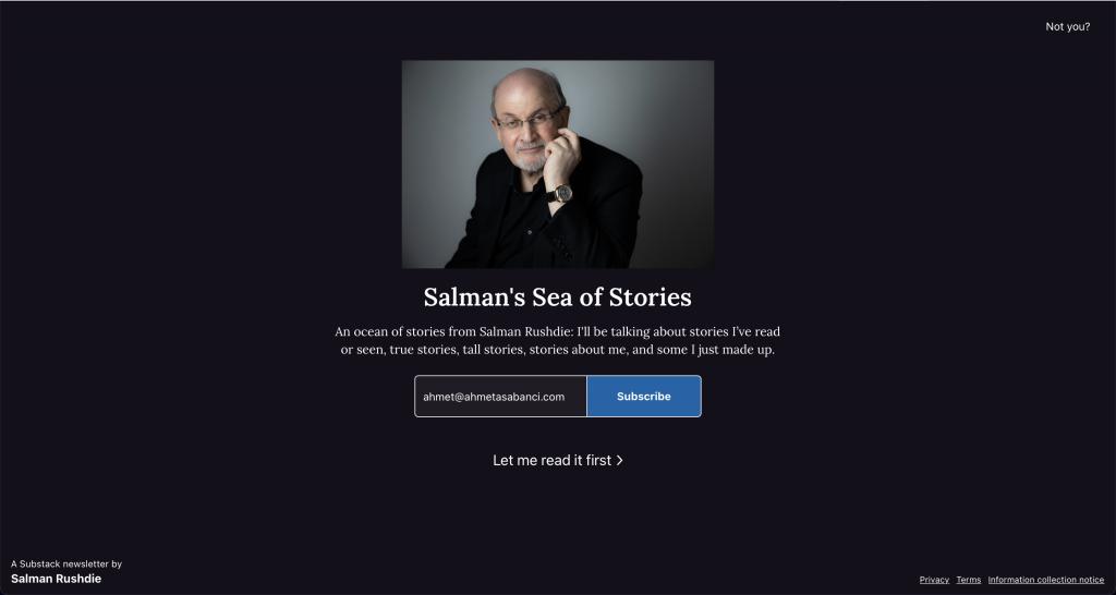 Rushdie'nin Substack sayfasının ekran görüntüsü.