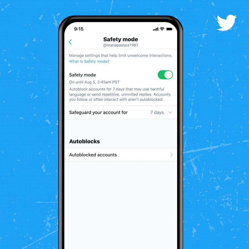 Twitter'ın güvenli mod ayarlarını gösteren bir ekran görüntüsü.
