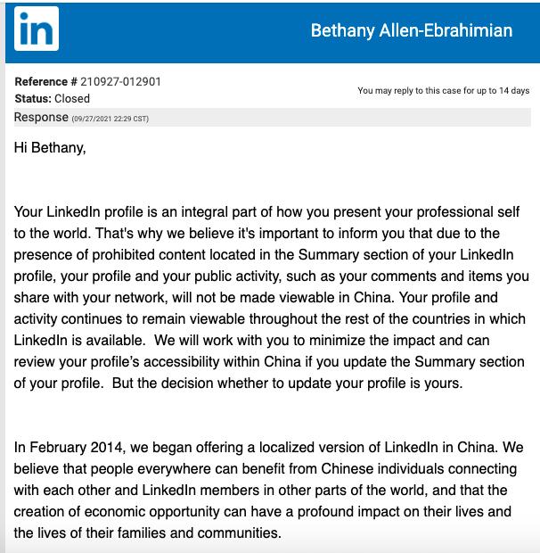 LinkedIn'in Çin'de engellediği gazetecilerden birine gönderdiği bildirim.