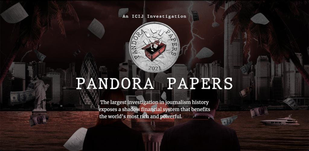 Pandora Papers için hazırlanan sitenin giriş ekranı.